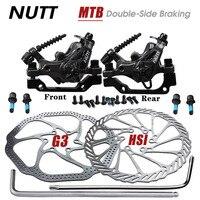 NUTT bicicleta MTB bicicleta de aleación de freno de disco mecánico Bilateral de 160 de 180 MM pinzas juego del Rotor Scooter BMX delantero trasero bicicleta de montaña partes