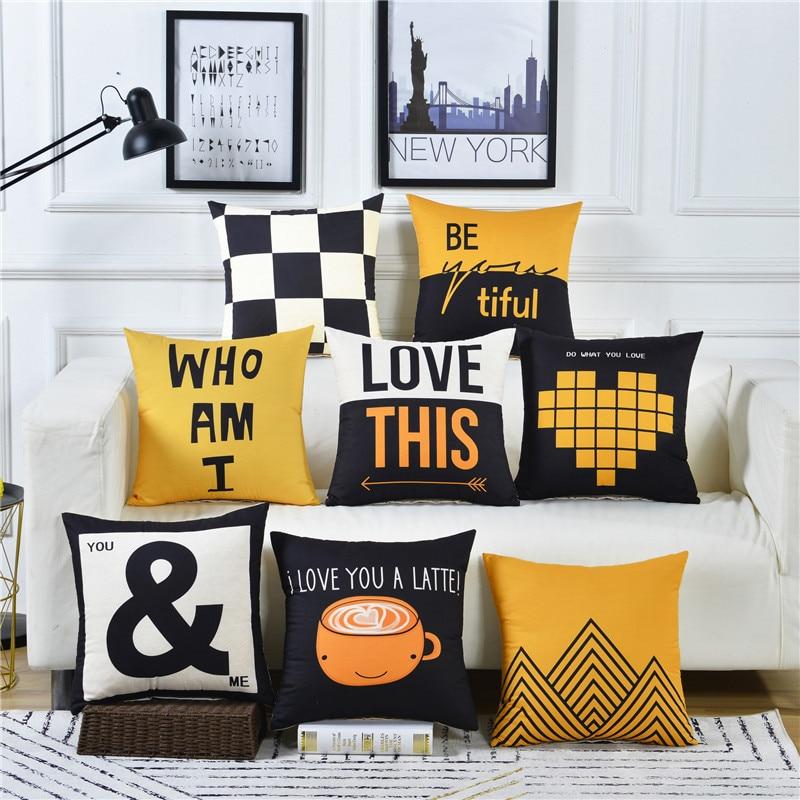 Decorative Cushion Covers 50x50 60x60 Polyester Sanding Material Lemon Yellow Geometric Rectangle 30x50 Throw Pillows Pillowcase