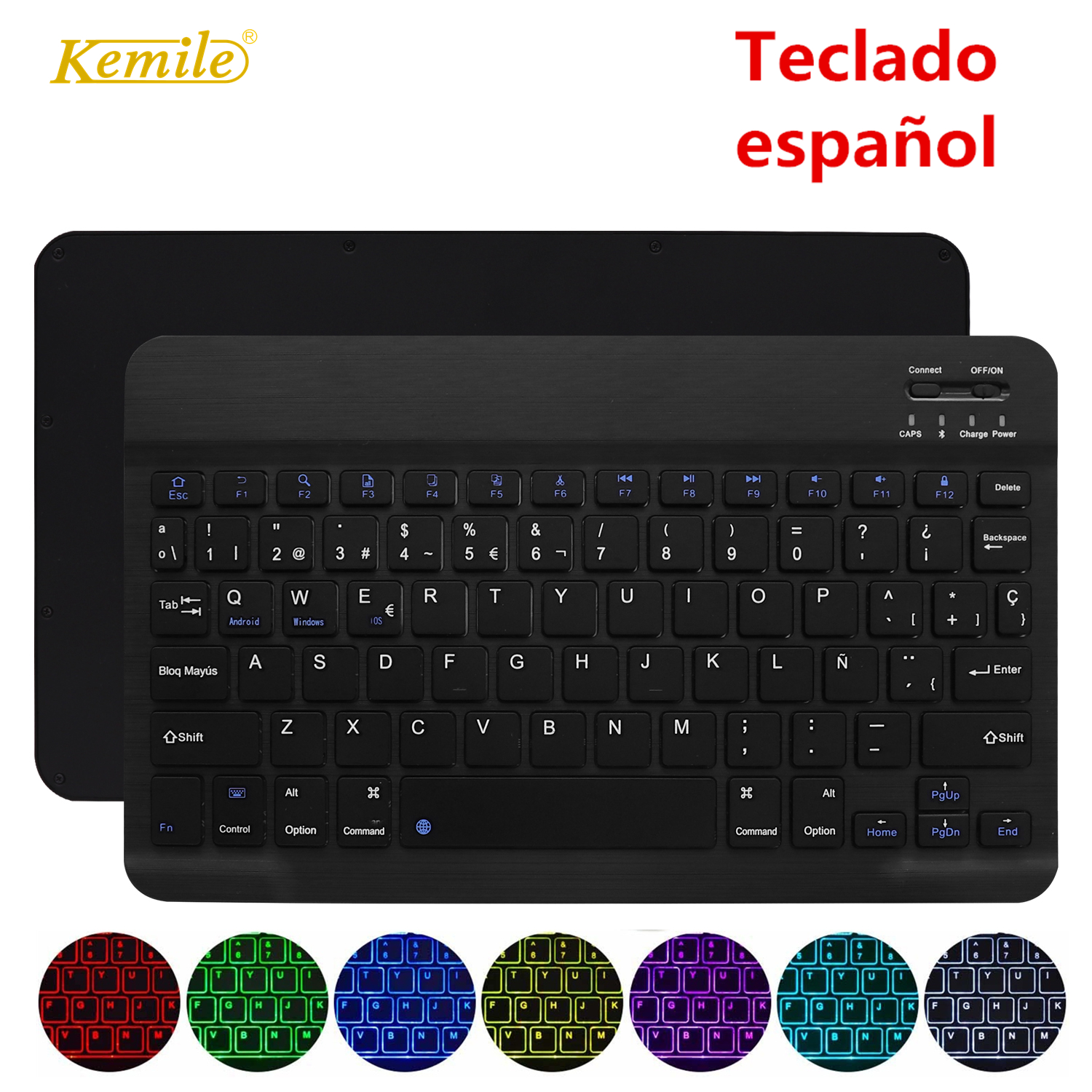 Ultra Slim Wireless Bluetooth Spanish Keyboard For IOS Android Tablet keyboard PC Windows For iPad Bluetooth Spanish TecladoKeyboards   - AliExpress