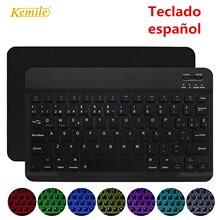Ultra cienki bezprzewodowy Bluetooth hiszpańska klawiatura dla IOS Android klawiatura tabletu PC Windows dla iPad Bluetooth hiszpański Teclado