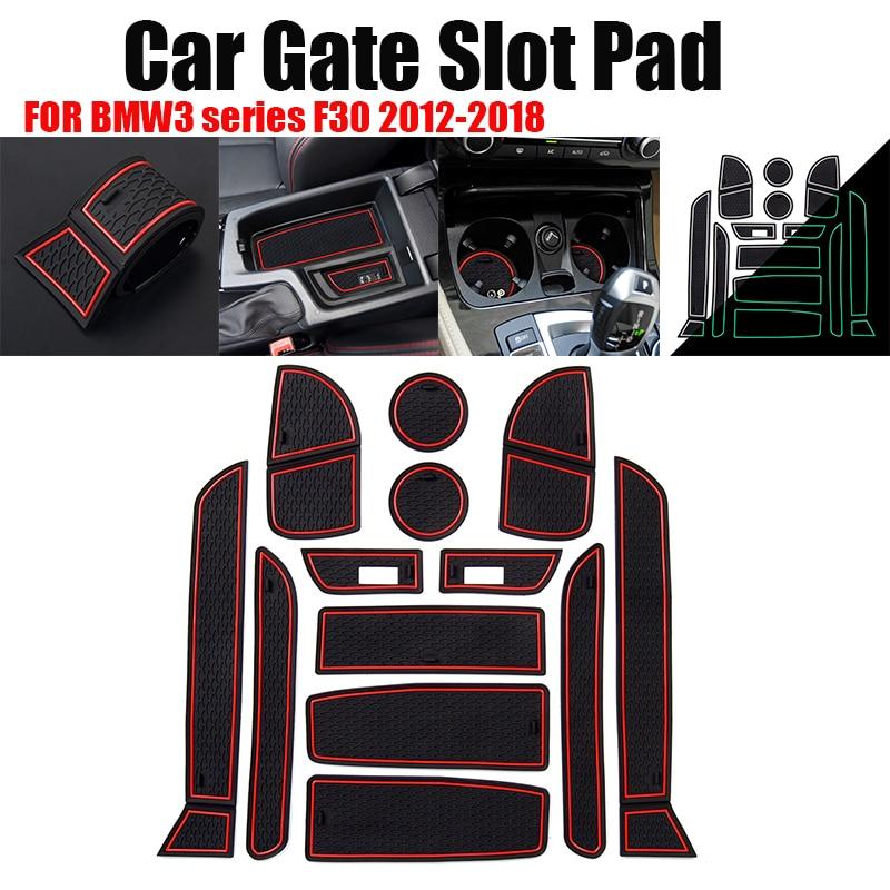 13pcs/set Car Gate Slot Pad Rubber Car Cup Mat Non Slip Interior Door Pad Cup Mat Gate Slot Mats For BMW 3 SERIES F30 2012-2018