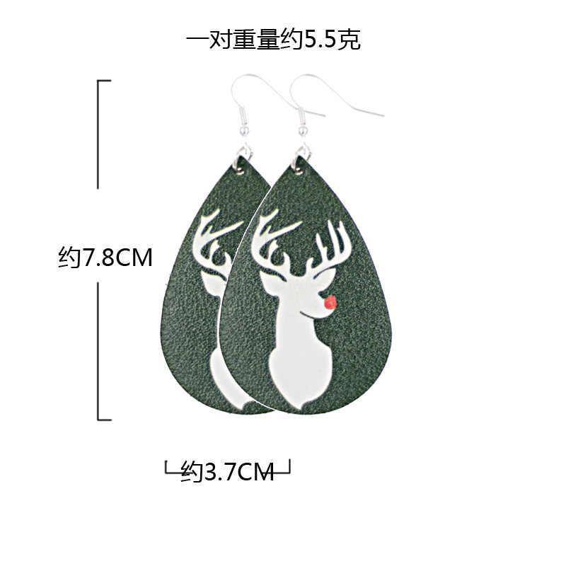 Mulheres Nova Enthic Oscila Brincos Bohemia Brincos Árvore De Natal Neve Veados Longo Pu Couro Para As Mulheres Presente de Natal Da Menina