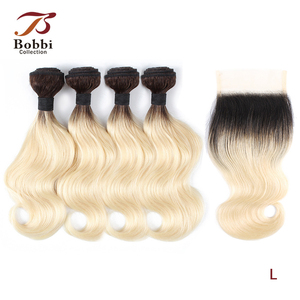 Bobbi Collection 4/6 Bundle with Closure 50g/pc Brazilian Ombre Honey Blonde Hair with Lace Closure Body Wave Remy Human Hair