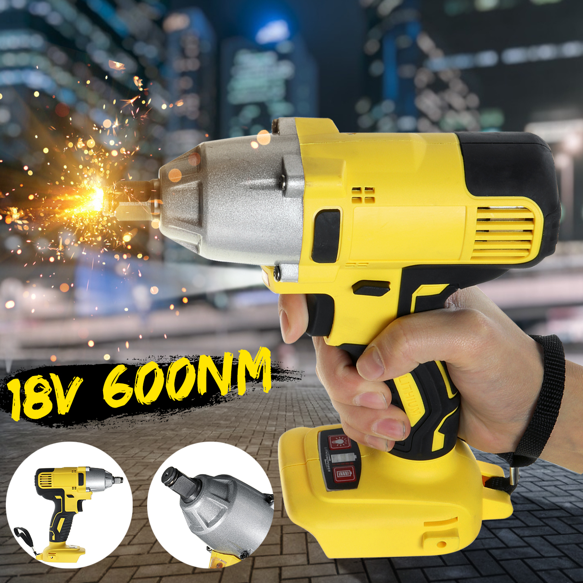 18V 6000 N.m Cordless Electric Screwdriver Speed Brushless Impact Wrench Rechargable Drill Driver+ LED Light For Makita Battery