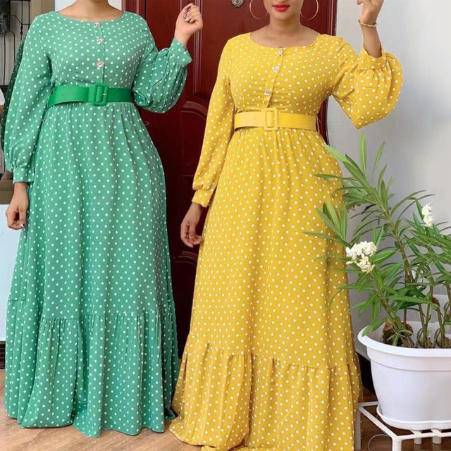African Print Polka Dot Chiffon Dresses Maxi Abaya Kaftan Elegant  1