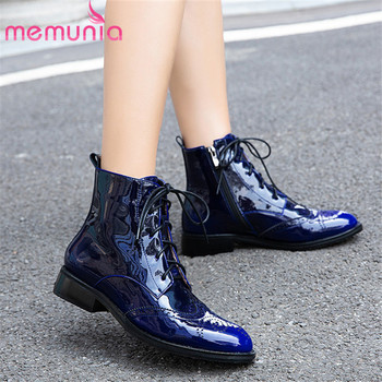 MEMUNIA 2020 new arrival autumn winter boots women low heels casual shoes lace up zip patent leather ankle boots for woman