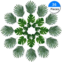 36pcs/Pack Green Jungle Plant Artificial Leaf Tropical Palm Leaves Island Style Simulation Wedding Party Table Home Decor
