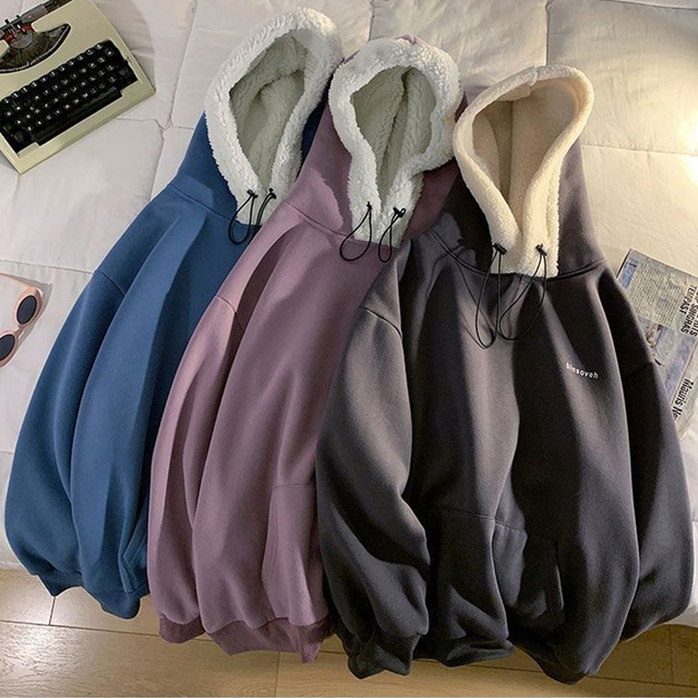 Autumn and Winter Lamb Plush Thickened Warm Hoodie Loose Solid Color Couple Pullover 2021 New Fashion Casual Coat