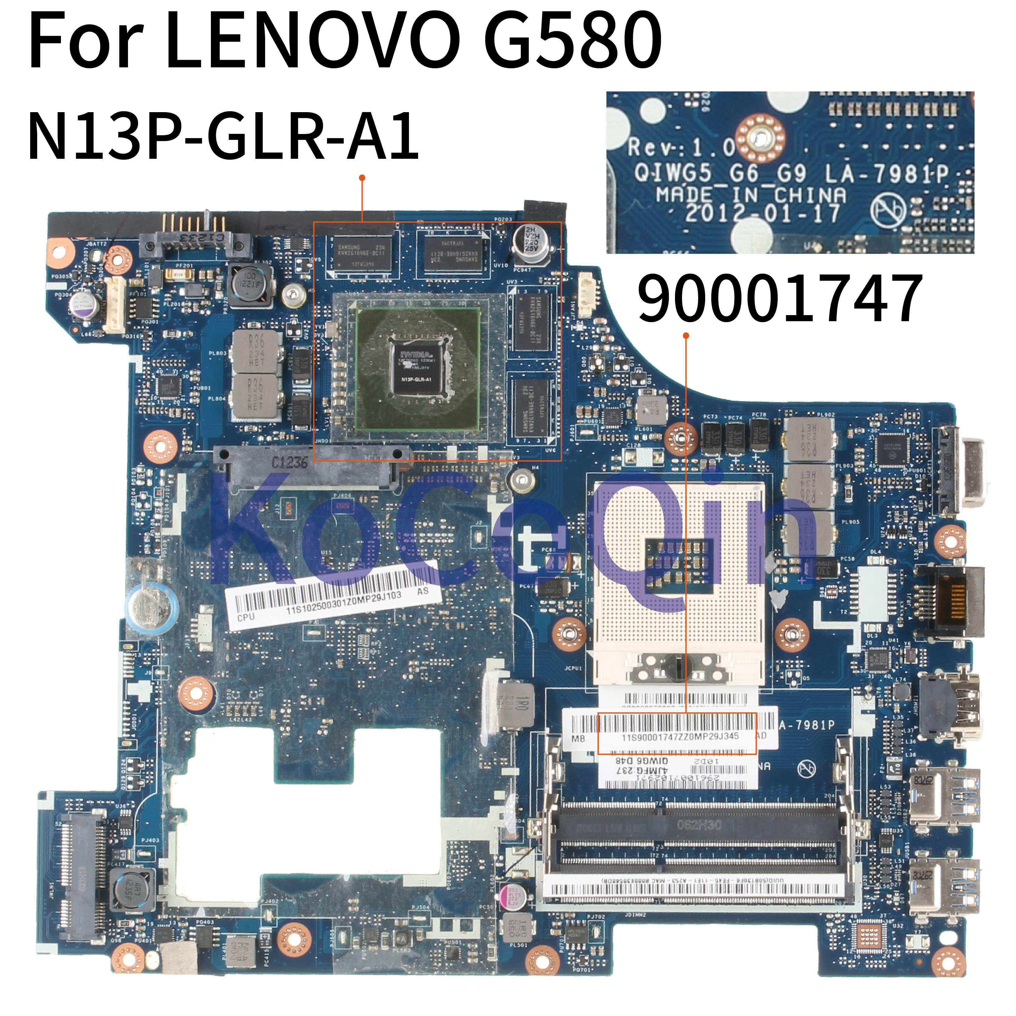 KoCoQin Laptop Motherboard For LENOVO G580 GT635M HM76 15' Inch Mainboard QIWG5 G6 G9 LA-7981P 90001747 SLJ8E N13P-GLR-A1