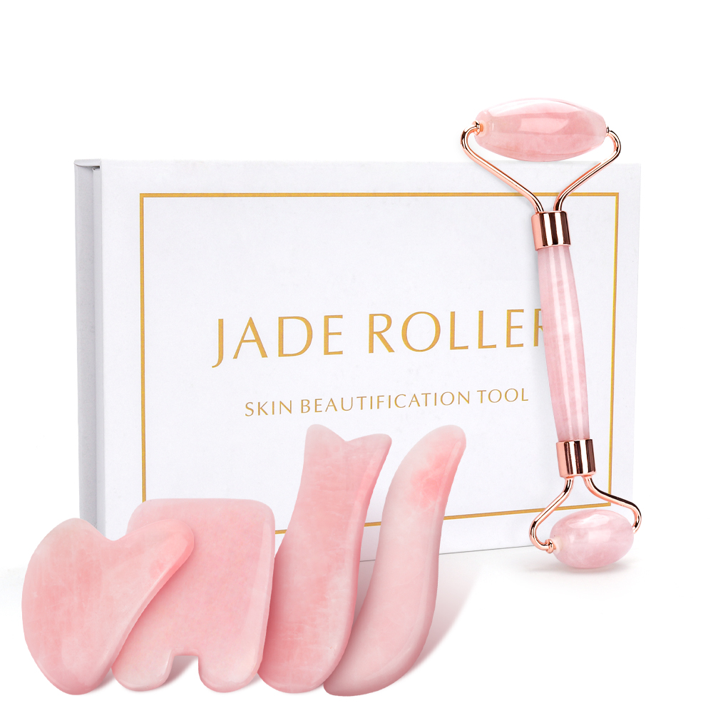 Rose Quartz Roller Slimming Face Massager Lifting Tool Natural Jade Facial Roller Stone Skin Beauty Care Set For Birthday Gift