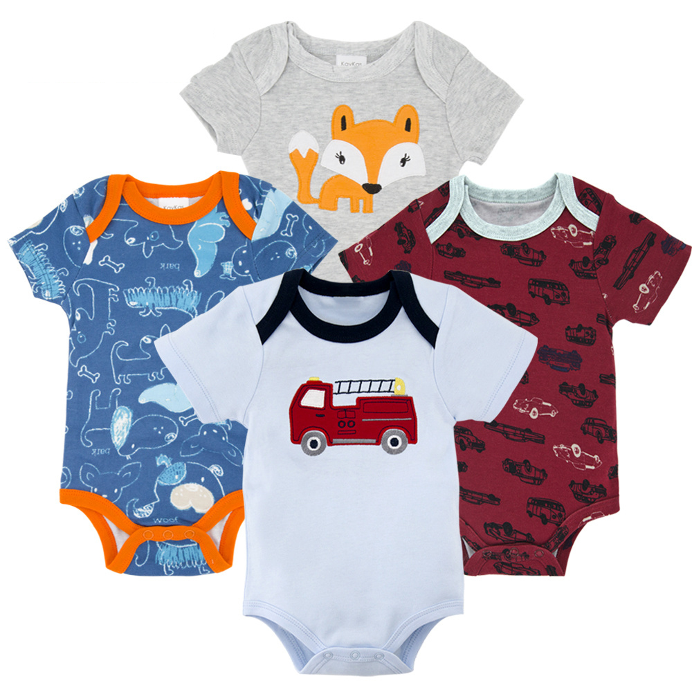 Honeyzone Пижама для младенцев 4 шт./компл. короткий рукав новорожденных Пижама для маленьких мальчиков/младенцев Одежда для маленьких мальчиков bossa nova - Цвет: HY21652174