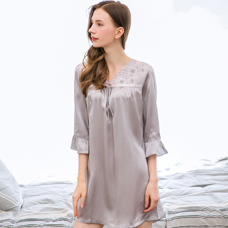 100% Real Silk Nightgown For Women Solid Lace Natural Silk Night Dress Ladies Summer Thin Large Pure Silk Nightdress Grey
