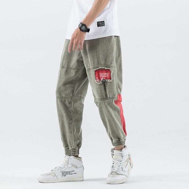 #2128 Black Khaki Ripped Jeans For Men Japanese Streetwear Mens Denim Cargo Jeans Big Size Loose Elastic Waist Casual Jeans Male