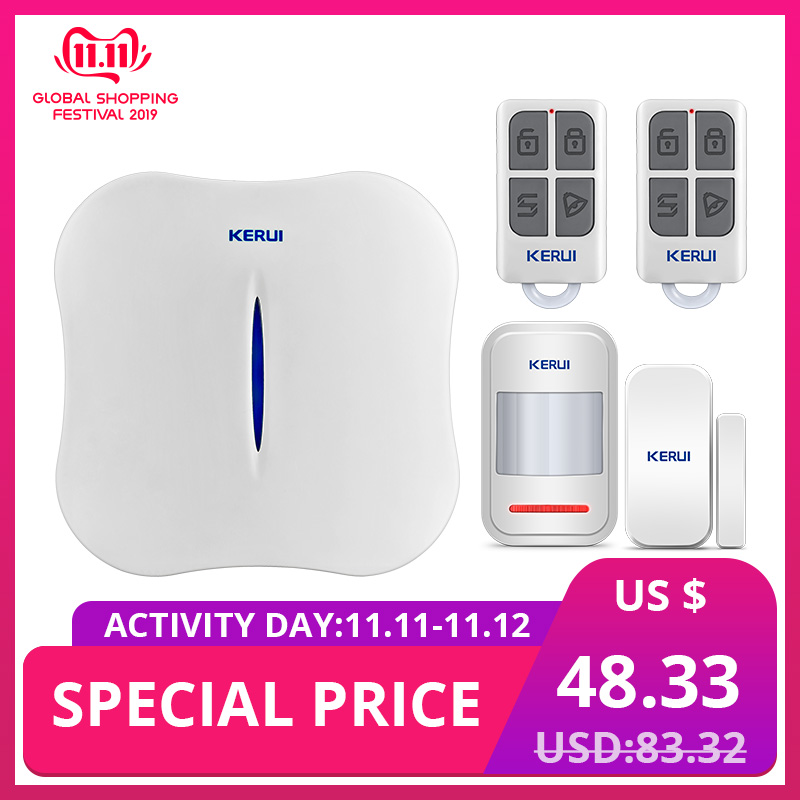 KERUI W1 Voice Prompt Wireless WiFi PSTN Home Security Linkage Alarm Anti theft Alarm System Kit with Indoor Outdoor IP Camera-in Alarm System Kits from Security & Protection
