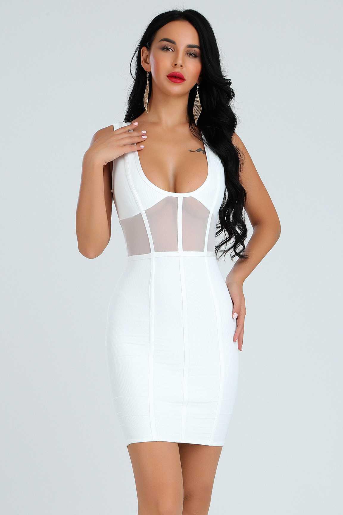 Haute qualité dentelle réservoir v-cou blanc Mini robe élégante mode robe partie Sexy robe