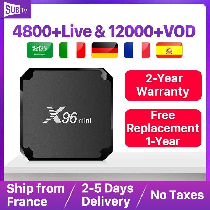 Abonnement SUBTV IPTV 1 an X96 Mini 2 + 16G IPTV Android 7.1 TV Box français arabe Portugal italie France IPTV Code arabe