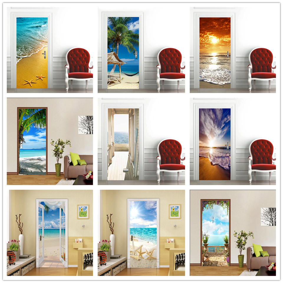 3D Wallpaper For Door Sticker Self-adhesive DIY Poster Beach Sea Scenery Mural Home Design Door Decoration Decal Stickers Porte