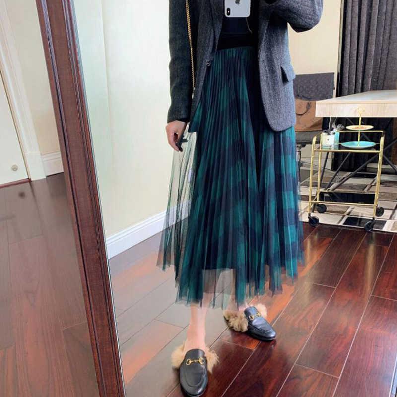 TIGENA Grün Rot Lange Plaid Tutu Tüll Rock Frauen Mode 2020 Neue Elegante EINE Linie Hohe Taille Gefaltete Maxi Rock weibliche Damen