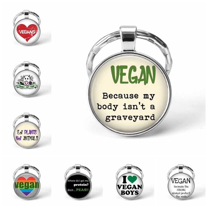 Fashion Veggie Chick Vegetarianism Glass Cabochon Pendant Key Chain Silver Plated Car Accessories Fashion Jewelry For Men Women