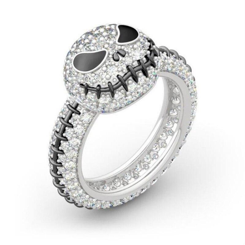 The Nightmare Before Christmas Ring Sally Jack Skellington Enamel Ring Jewelry Crystal Ring Gift - Цвет основного камня: Jack