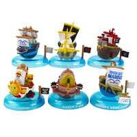 6 unids/lote de Anime japonés de una pieza barco mil soleados feliz Barco Pirata Barco de PVC figura de acción modelo Juguetes