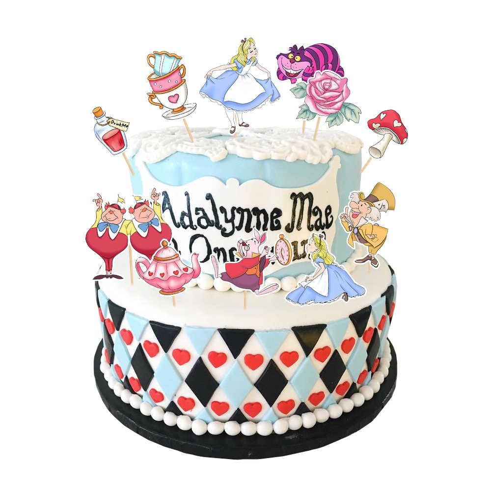 أليس في بلاد العجائب حفلة أليس كعكة توبر كب كيك فتاة كعكة الديكور لحفلة عيد ميلاد المتاح لوازم الحفلات