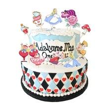 Decoración de tarta de Alicia en el país de las Maravillas, fiesta de cumpleaños de niña para Decoración de Pastel, suministros desechables para fiesta