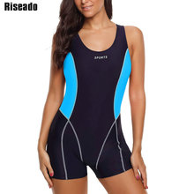 Riseado กีฬา One Piece ชุดว่ายน้ำหญิง Boyleg 2020 ชุดว่ายน้ำผู้หญิง Patchwork ชุดว่ายน้ำ RACER กลับการฝึกอบรมชุดว่ายน้ำ
