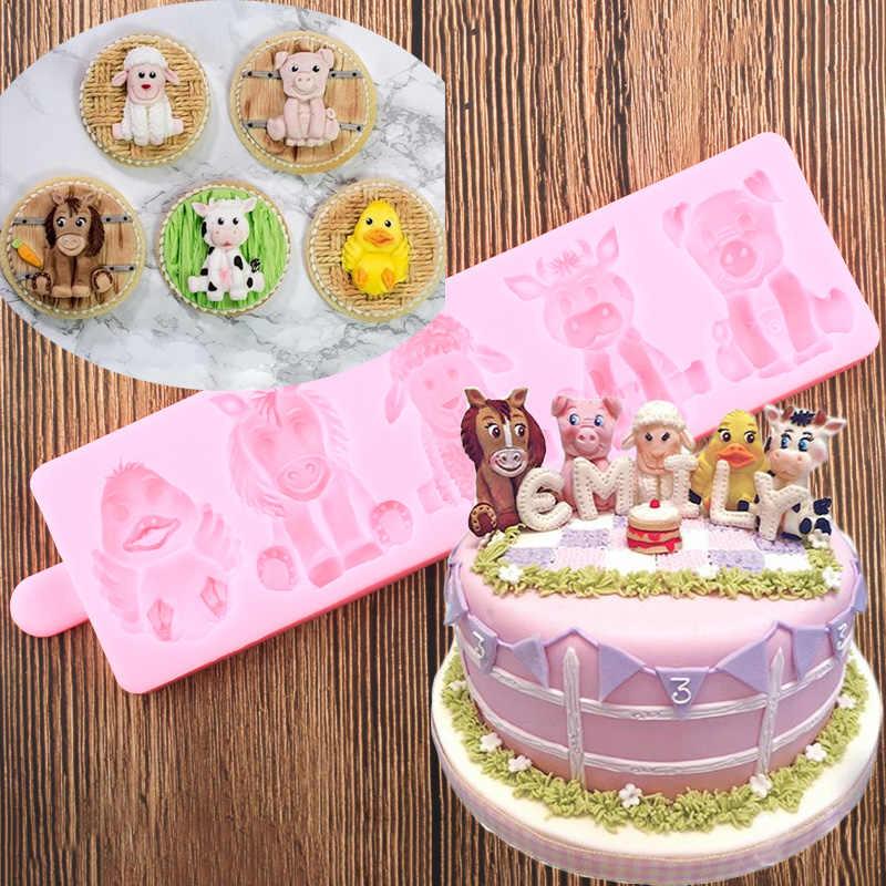 Cool Farm Animals Cake Border Silicone Molds Sheep Horse Fondant Mold Birthday Cards Printable Benkemecafe Filternl