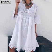 Lace Dress Bohemain ZANZEA Women's Summer Flare-Sleeve Cotton Robe Vestidos Knee-Length