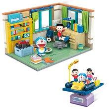 Altamente restaurado doraemon nobita nobis quarto montagem máquina do tempo modelo blocos de construção kit tijolos conjuntos clássicos crianças brinquedos presente