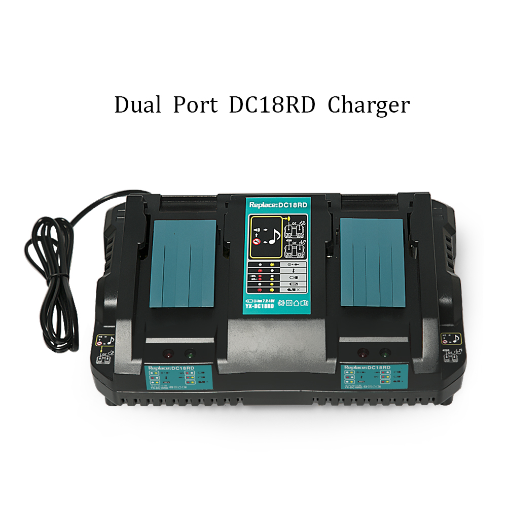 Dual Port Charger Replace for Makita Battery 18v Lithium ion Battery Charger DC18RD Charger for Makiita 18V BL1830 Bl1430 DC18RC