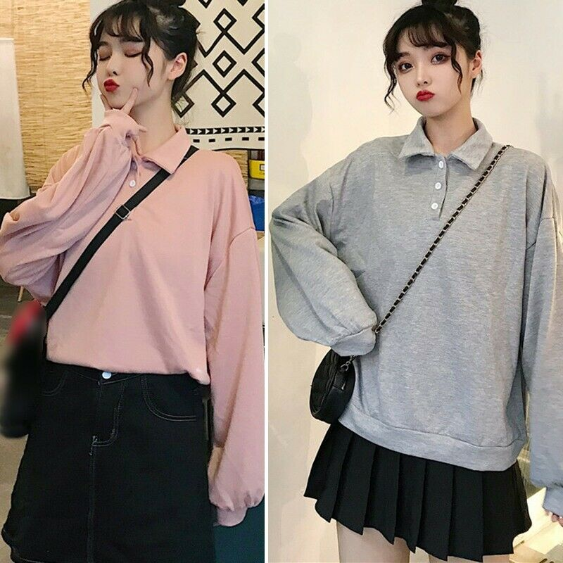 Korean Style Thin Long-sleeve Women Pullover Loose Casual Lapel Solid Color Tops