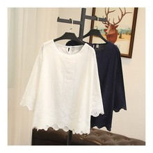 oversize Women's Summer Thin Blouse cotton Shirt Solid Hollo