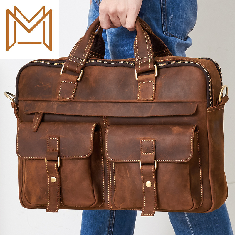 Crazy Horsehide Genuine Leather Business Affairs Male Package Man Portable Briefcase Head Layer Cowhide Single Shoulder Package