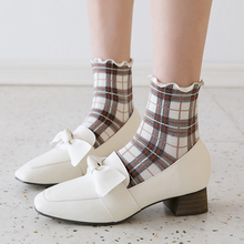 New style retro England Plaid womens socks Panick fair maiden literary and artistic fresh mid-barrel 3 pair