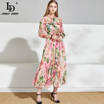 LDLINDADELLA 2020 Summer Vacation Runway Dress Women Bow Tie Floral Print Elegant Chiffon Dresses Ladies Midi Dress vestidos random floral print self tie design dress