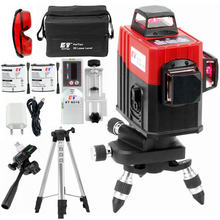 KaiTian 3D Laser Level Tripod/Magnetic Bracket Use AA&Lithium Battery and AC Adapter Self-Leveling Red Line 360 Lasers Receiver