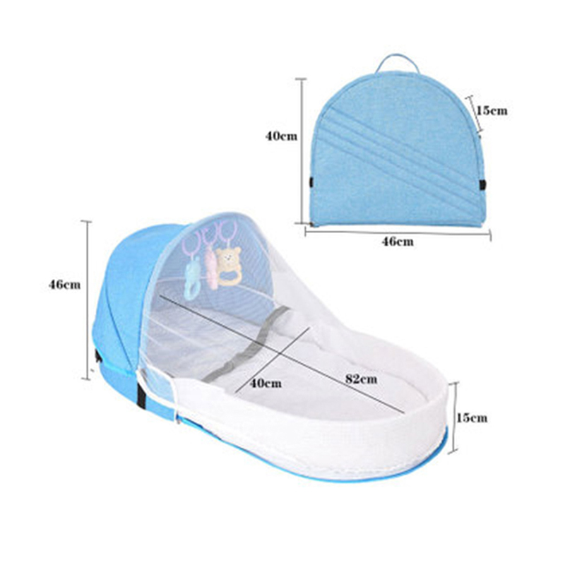 Portable Kids Baby Bed Newborn Baby Foldable Baby Crib Travel Sun Protection Mosquito Net Breathable Sleeping Basket With Toys