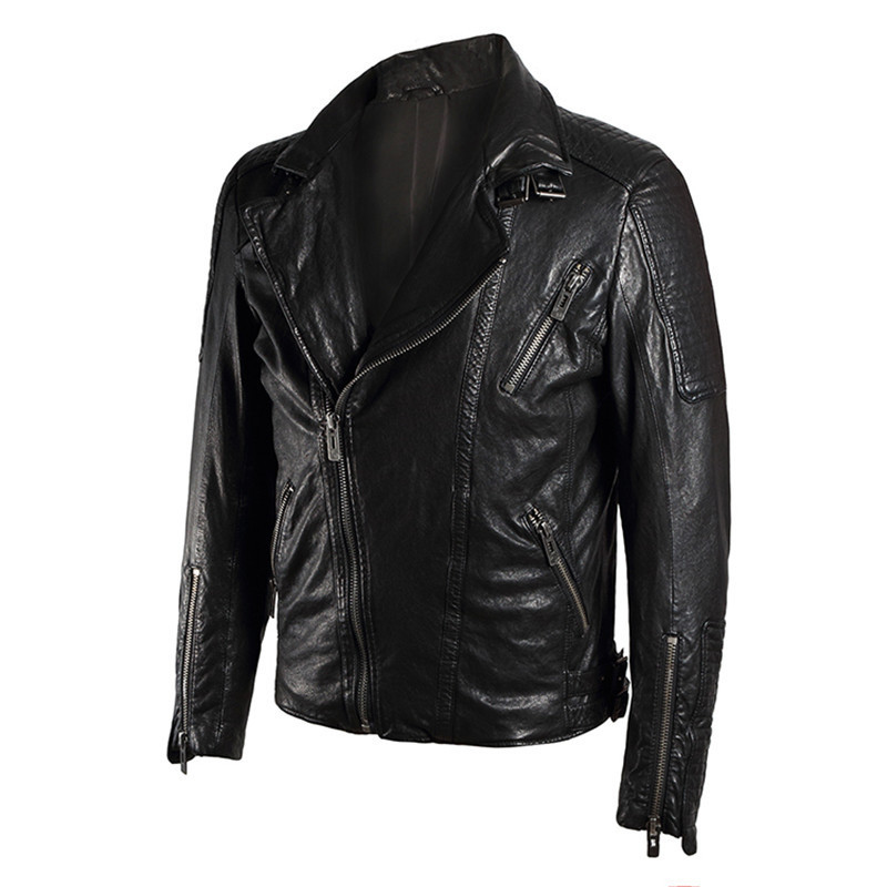 Real Mens Leather Jacket Jaqueta De Couro Motoqueiro Spring Genuine Leather Jackets Sheepskin Coats Large Size 5XL WXF50 S