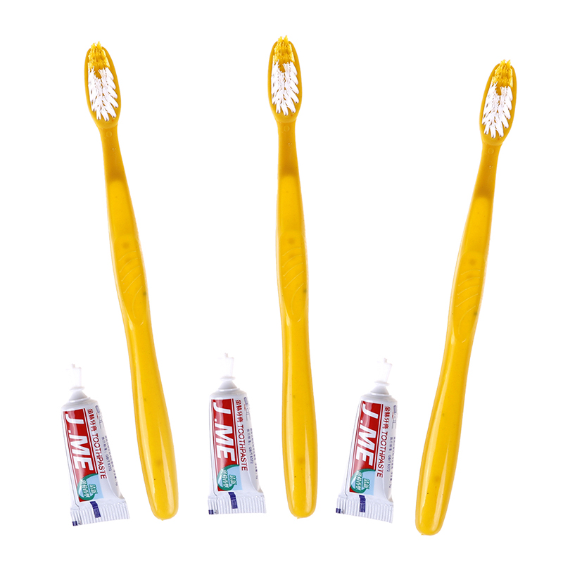 10pcs Handy Plastic Travel Teeth Clean Tool Hotel Disposable Toothbrush With Toothpaste Kit For Drop Shipping image