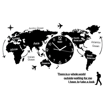 Creative clock wall clock living room modern minimalist art fashion decoration Nordic world map personality home clock