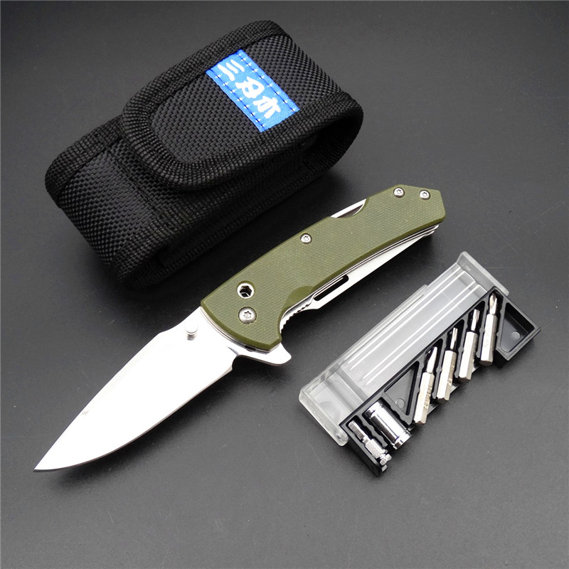 Sanrenmu 7106 Outdoor EDC Pocket Knife with Multi Functional Tool Saw Belt Cutter Glass Breaker Screwdriver Bit and Nylon Sheath