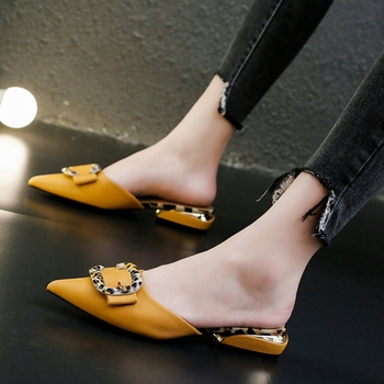 Leopard Buckle Pu Leather Mules Shoes Women Pointed Toe Low Heel Slippers Sandals Summer Multicolor Closed Toe Slippers 2020