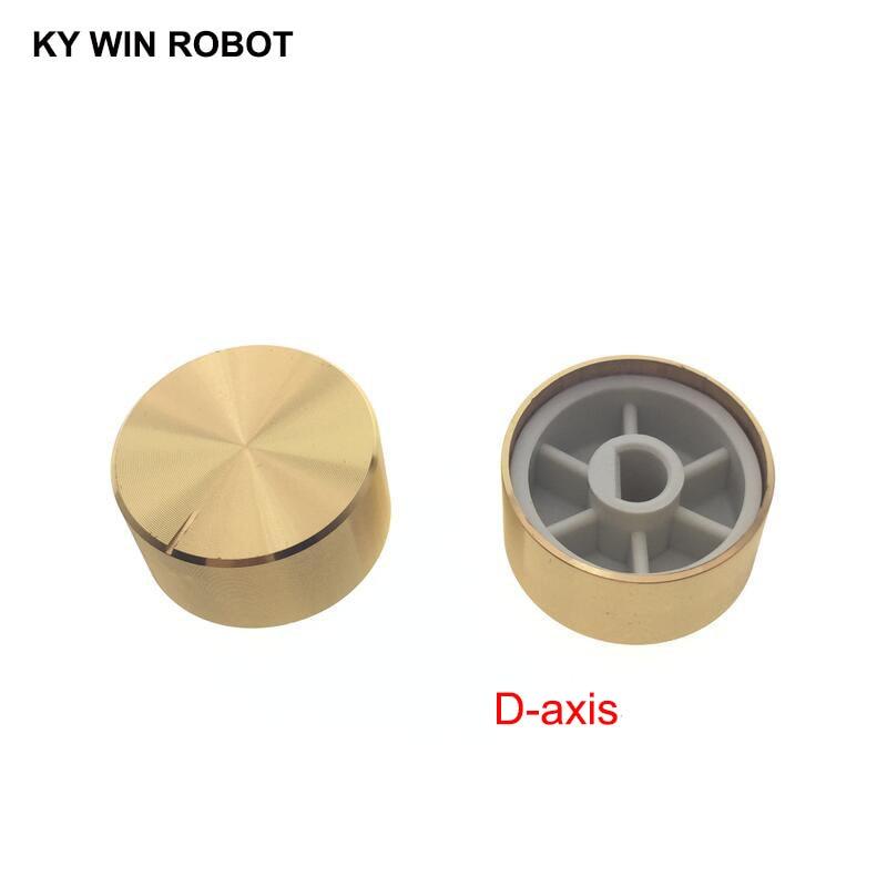 1 Pcs 25x13mm 6mm Shaft Hole Aluminum Alloy Potentiometer Knob Gold (D-axis)