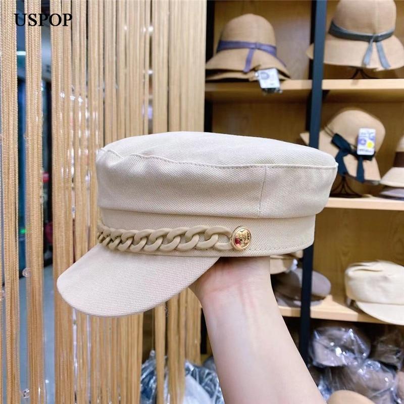 USPOP New Women Spring Summer Cotton Newsboy Cap with Chain Flat Visor Letter Baker Boy Hat