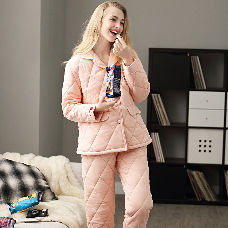 Best Deal¸JINUO Long-Sleeves Pajamas Homewear Winter Women Pink V-Neck Toddler Red Lapel Solid