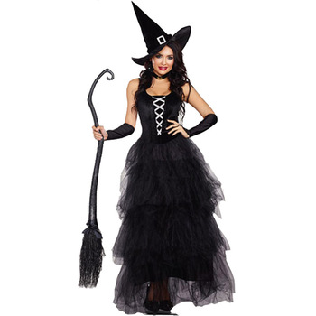 Women Sexy Witch Costumes Adult Fantasy Black Dress UP Halloween Carnival Costume Fancy