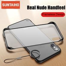 Rahmenlose Fall Für iPhone 7 Fall Transparent Matte Harte Telefon Abdeckung Für iPhone XR XS Max X 7 6 6s 8 Plus Mit Finger Ring Fall