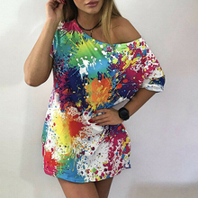 2019 New Womens Short Sleeve Mini Dress Summer Ladies One Off Shoulder Club Party Femme Casual Plus Size Colorful